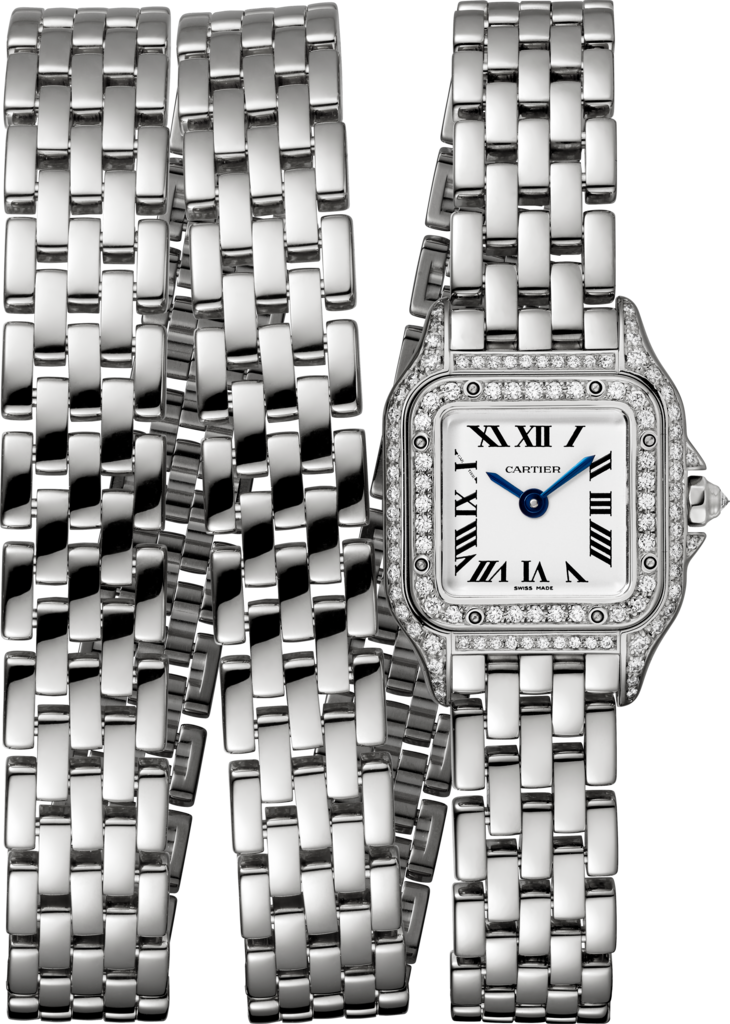 Panthère de Cartier watchMini model, triple loop, rhodiumized white gold, diamonds