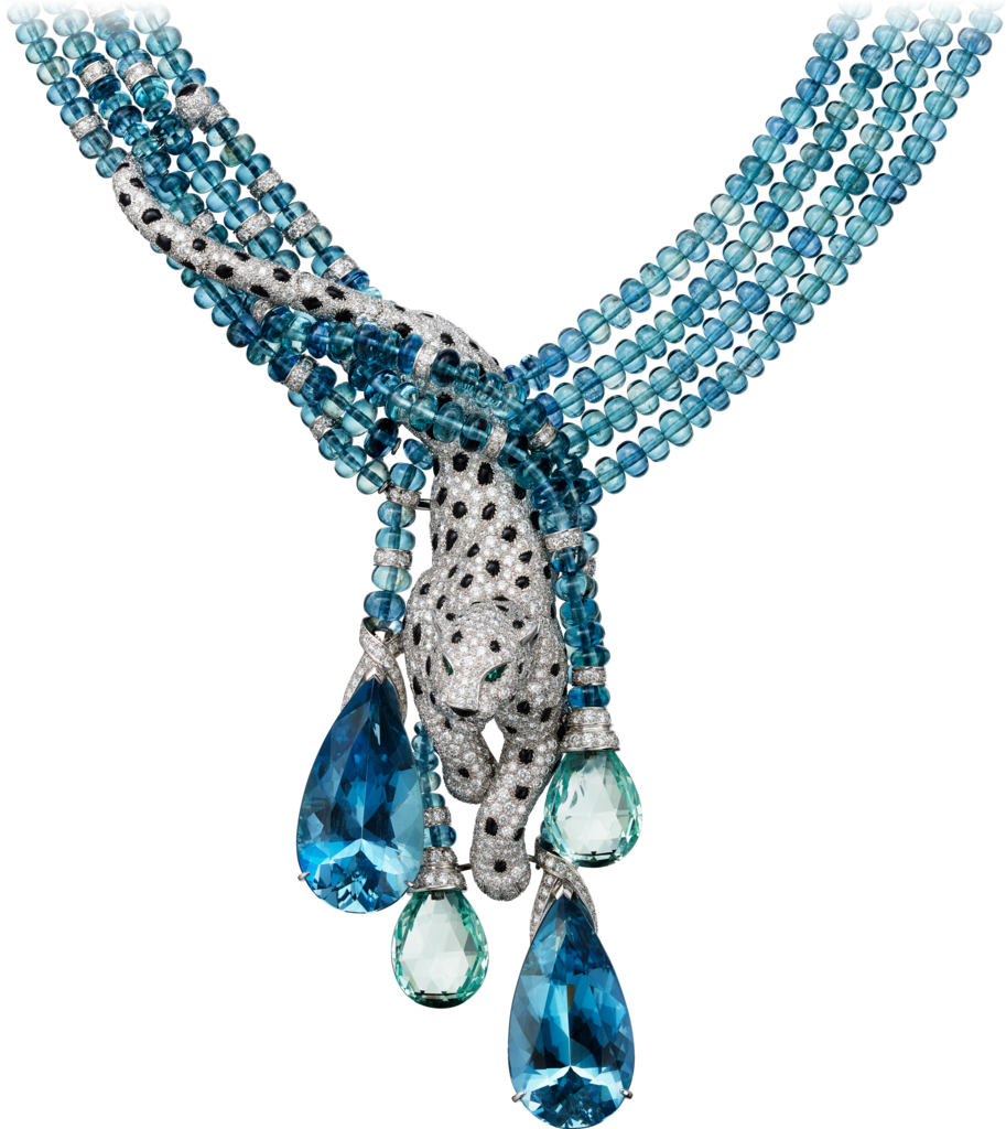 Panthère de Cartier High Jewelry necklacePlatinum, aquamarines, emeralds, onyx, diamonds.