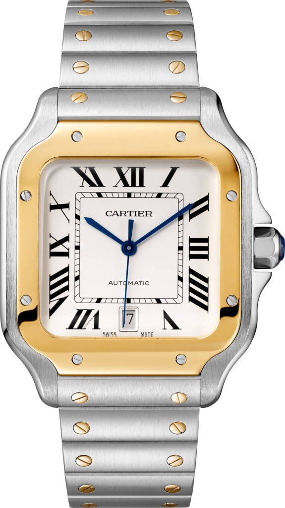 Santos de Cartier watchLarge model, automatic, gold and steel, two interchangeable straps
