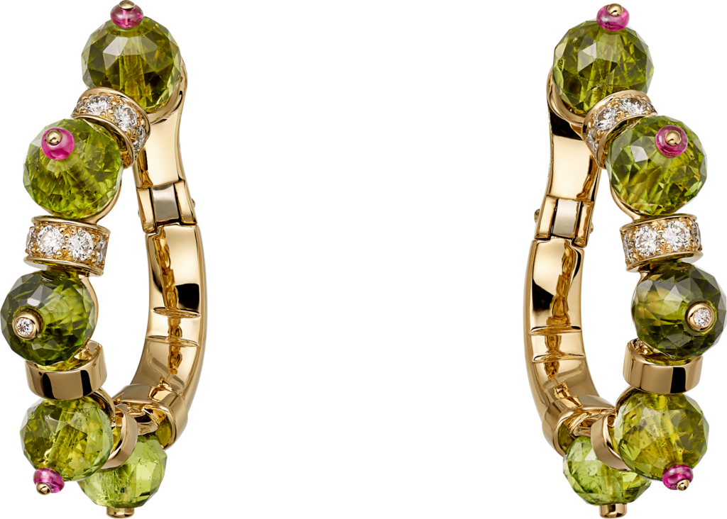 High Jewelry earringsYellow gold, peridots, rubies, diamonds