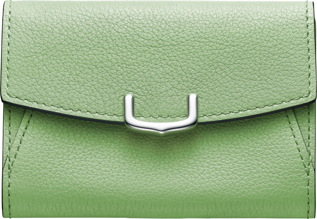 C de Cartier Small Leather Goods, card holderChrysoprase-colored taurillon leather, palladium finish