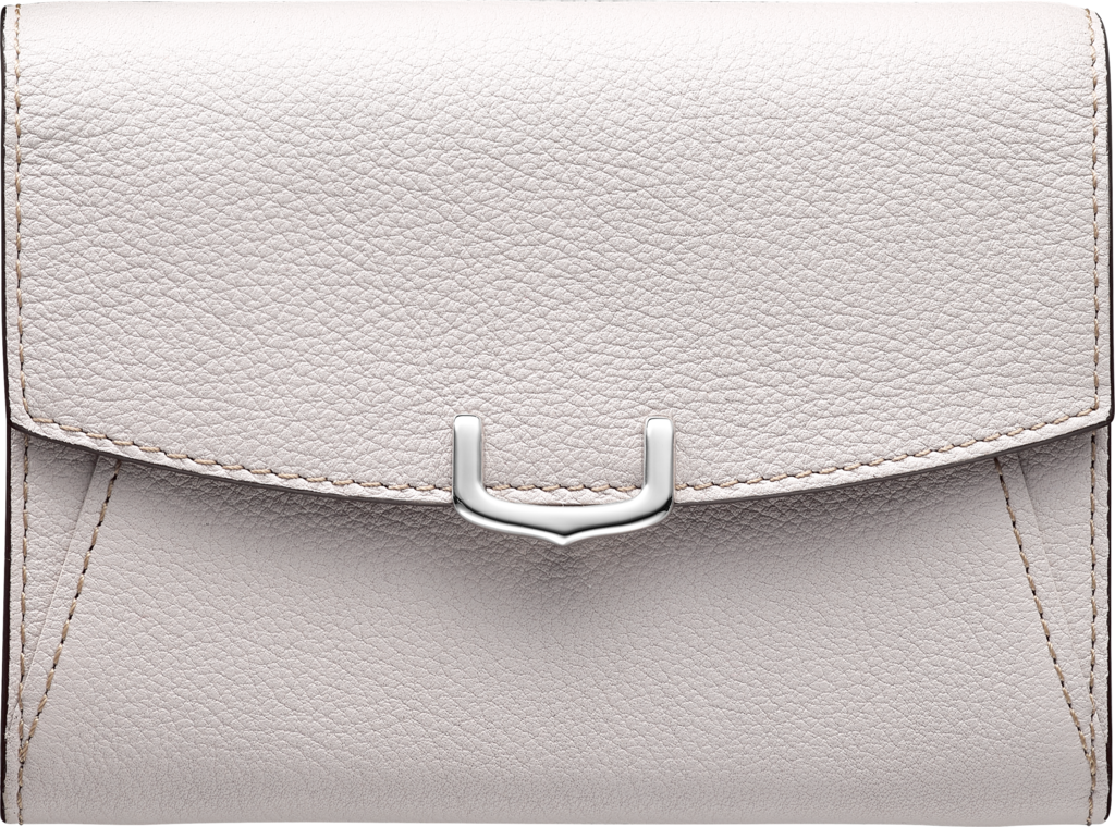 C de Cartier Small Leather Goods, compact walletMoonstone taurillon leather, palladium finish