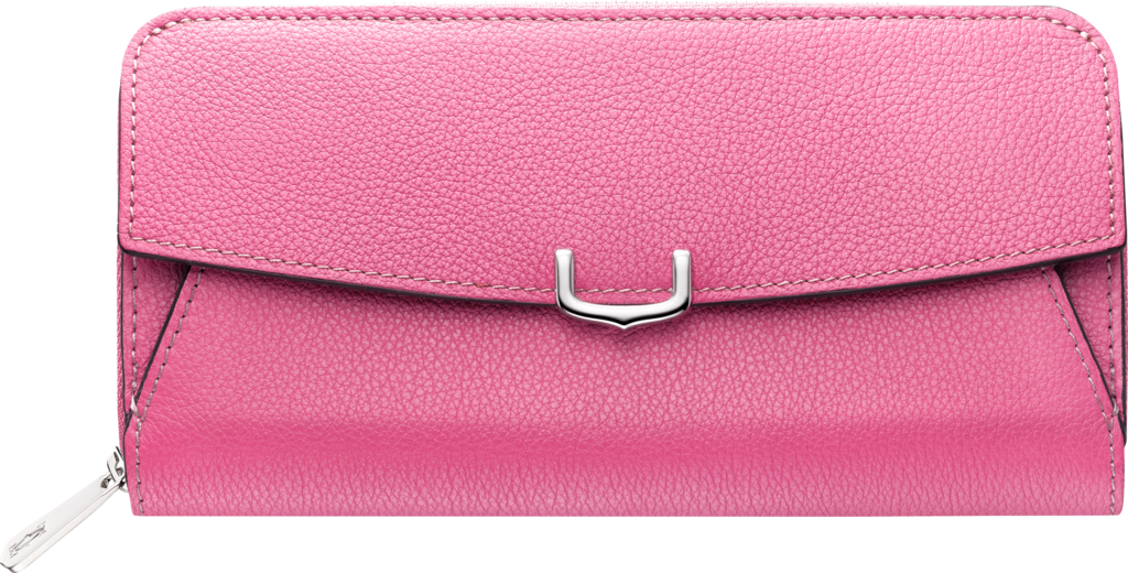 C de Cartier Small Leather Goods, zipped international walletPink sapphire taurillon leather, palladium finish
