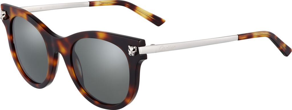Panthère de Cartier sunglassesCombined light tortoiseshell, smooth platinum finish.