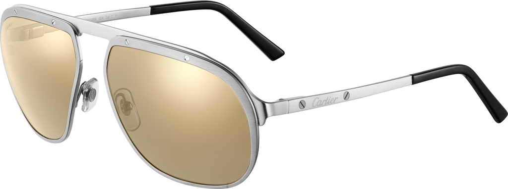 Santos de Cartier sunglassesMetal, brushed platinum and ruthenium finish, lenses with white golden mirror effect.