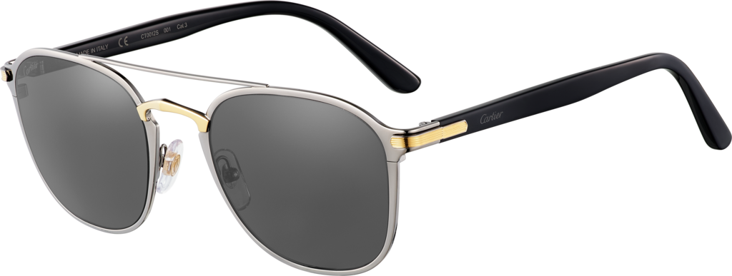 C de Cartier SunglassesCombined black and golden, matte ruthenium-finish frame, bridge with smooth golden finish, dark gray lenses.