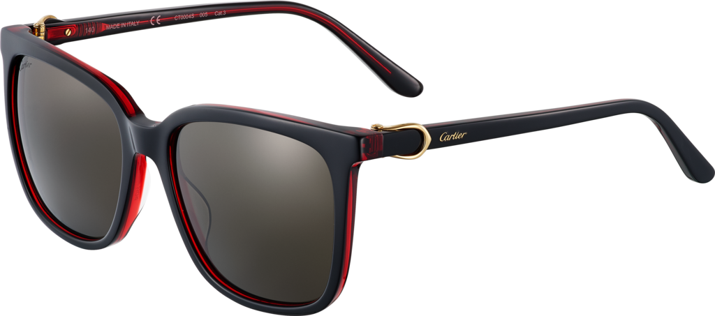C Décor sunglassesBlack composite, red transparent effect, golden finish, gray lenses.