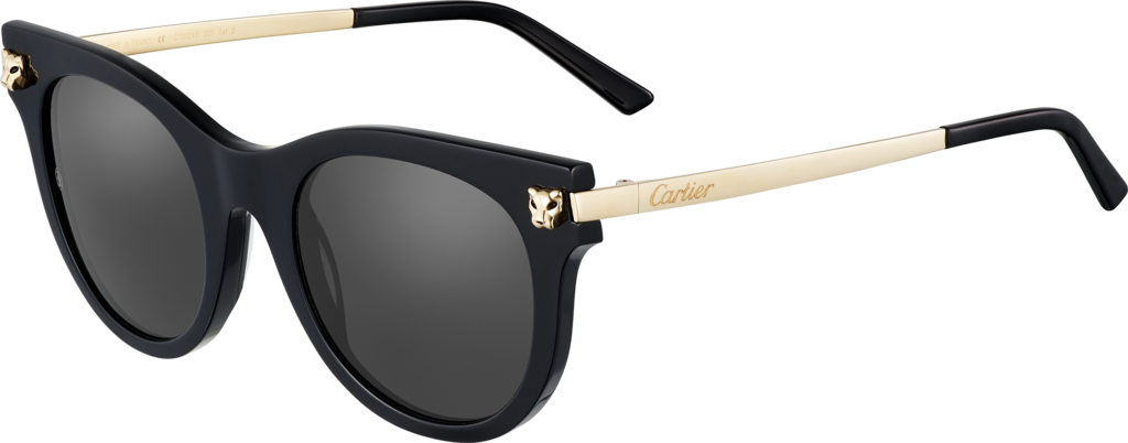 Panthère de Cartier sunglassesBlack composite, smooth champagne golden finish.