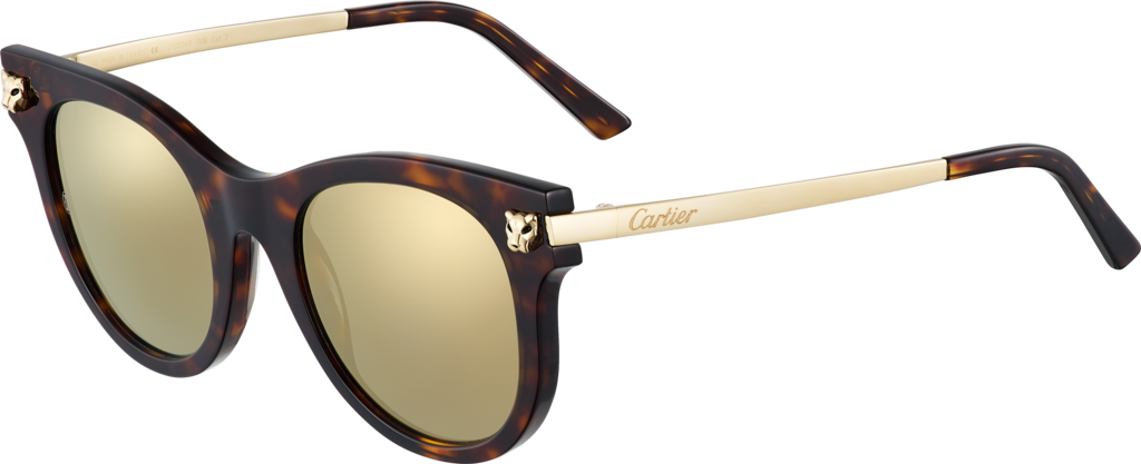 Panthère de Cartier sunglassesTortoiseshell composite, smooth champagne golden finish.