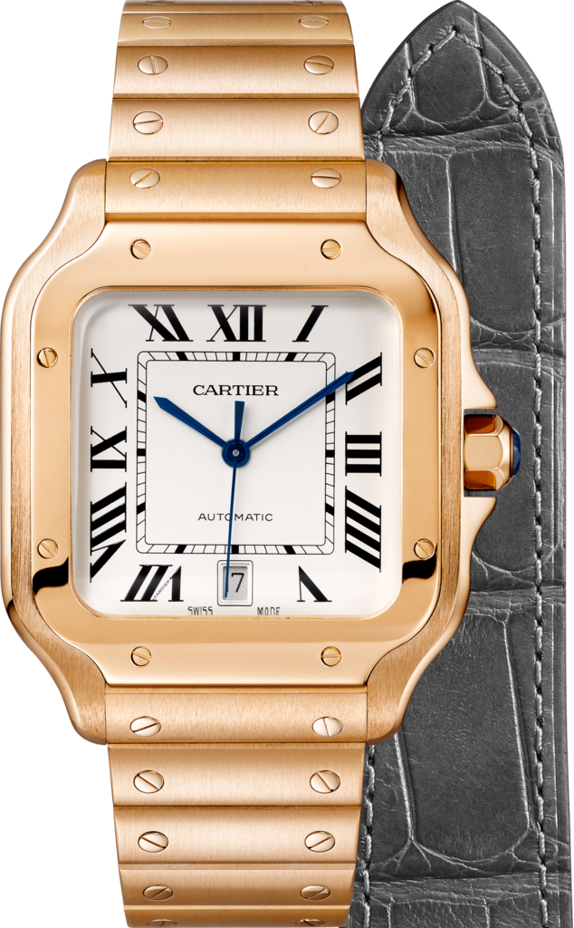 Santos de Cartier watchLarge model, automatic, pink gold, two interchangeable straps
