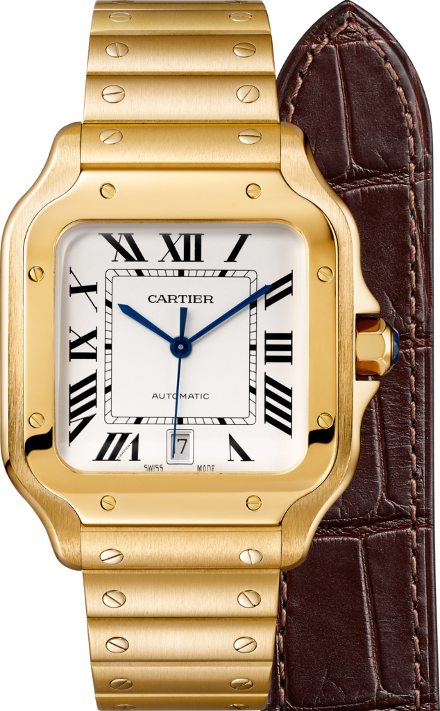 Santos de Cartier watchLarge model, automatic, yellow gold, interchangeable metal and leather bracelets