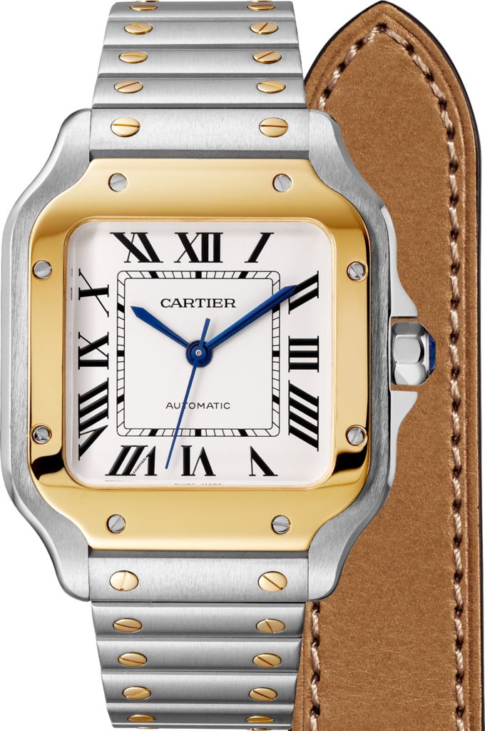 Santos de Cartier watchMedium model, automatic, yellow gold and steel, two interchangeable straps