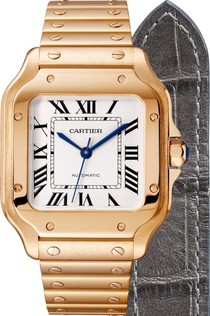 Santos de Cartier watchMedium model, automatic, pink gold, two interchangeable straps