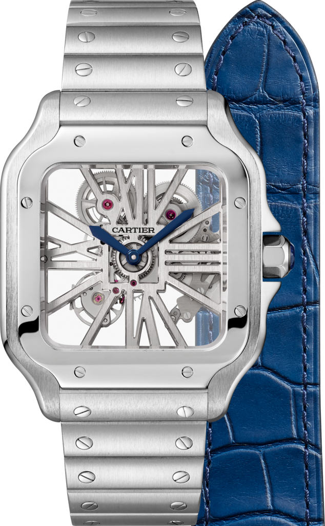 Santos de Cartier Skeleton watchLarge model, manual, steel, two interchangeable straps