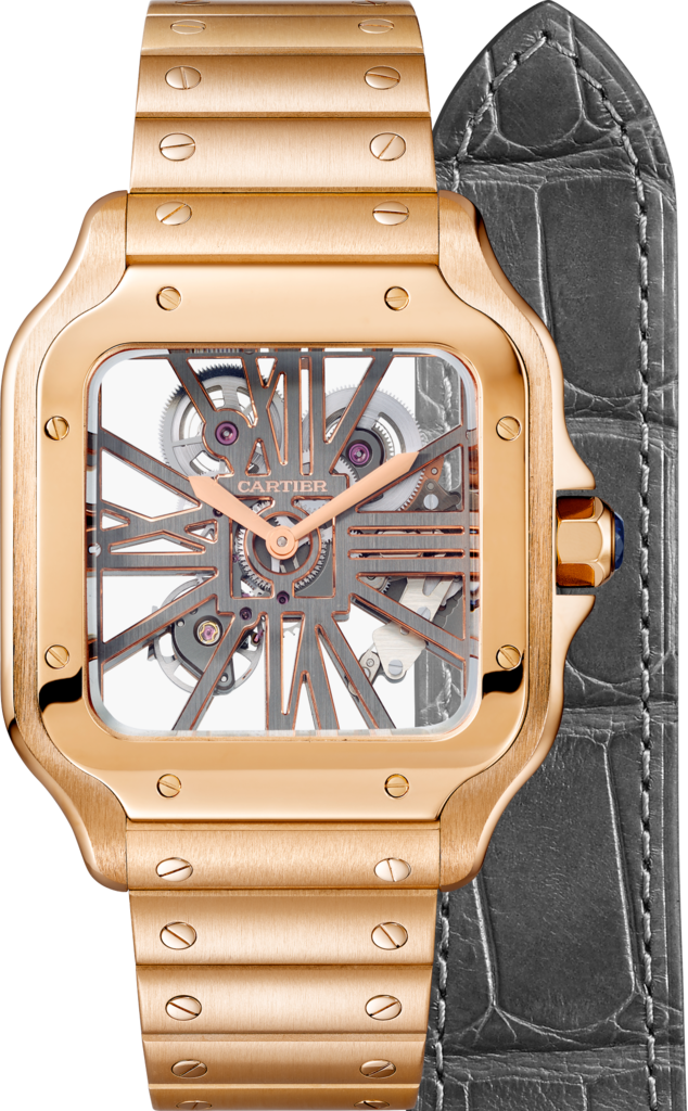 Santos de Cartier Skeleton watchLarge model, manual, pink gold, two interchangeable straps