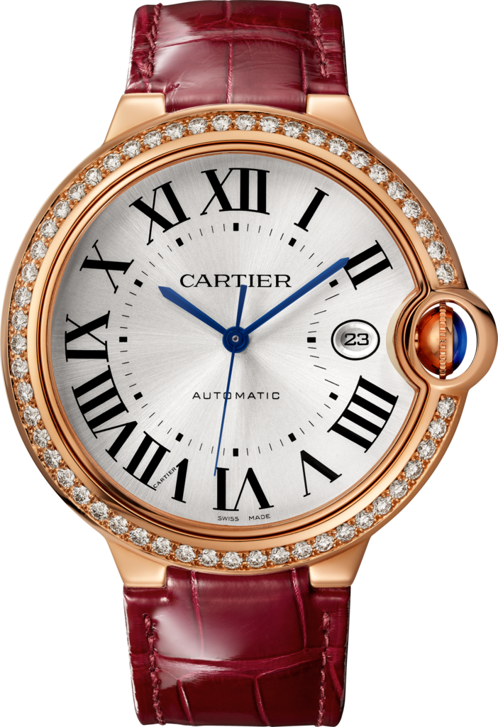 Ballon Bleu de Cartier watch42 mm, pink gold, diamonds, leather