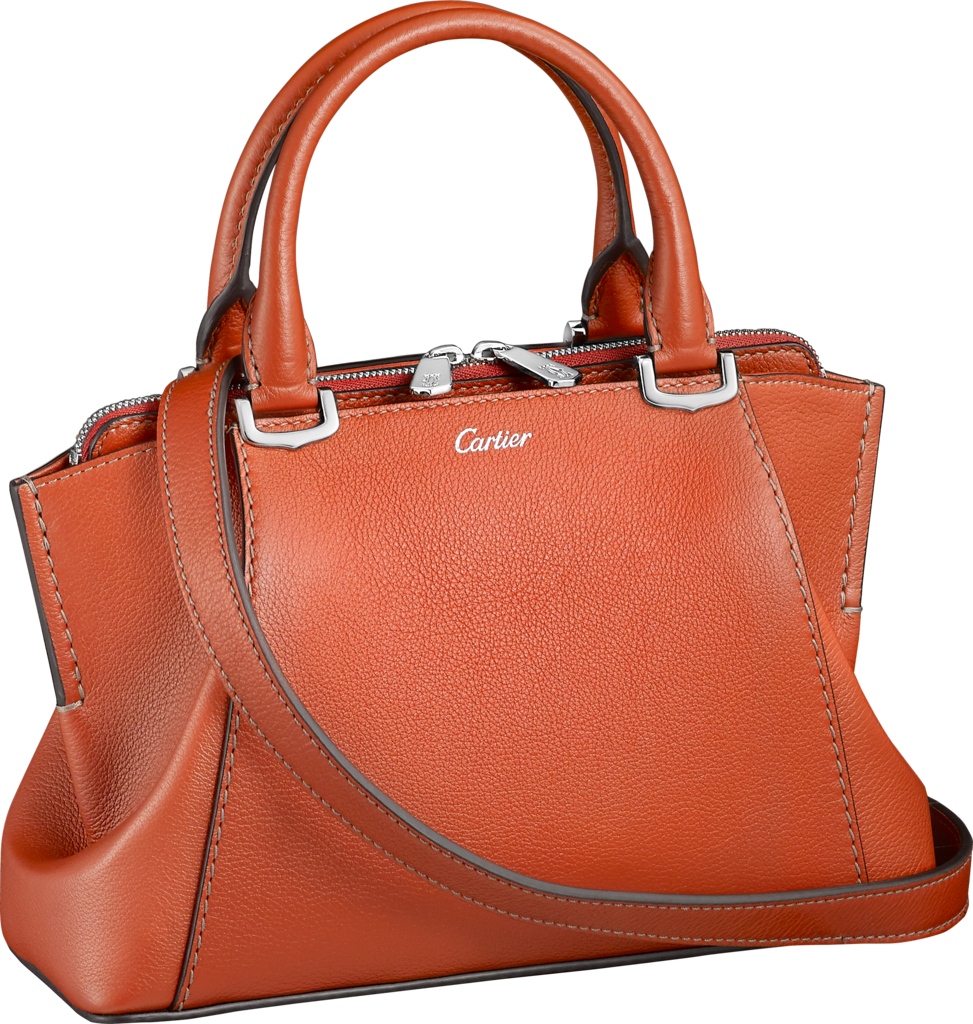 C de Cartier bag, mini modelRed carnelian taurillon leather, palladium-finish