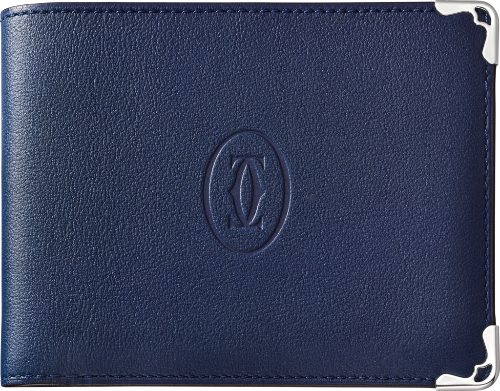 Must de Cartier Small Leather Goods, 6-credit card walletBlue calfskin, stainless steel finish