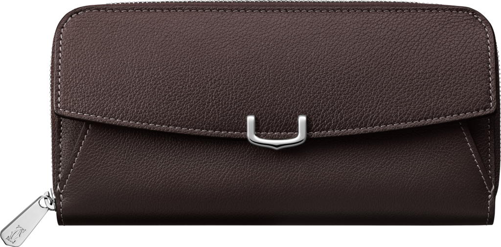 C de Cartier Small Leather Goods, zipped international walletRhodolite garnet taurillon leather, palladium finish