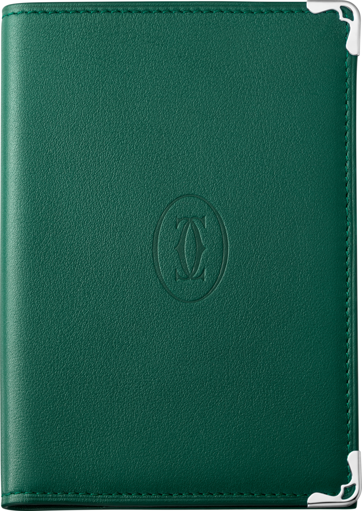 Must de Cartier Small Leather Goods, passport holderPeacock green grained calfskin, stainless steel finish