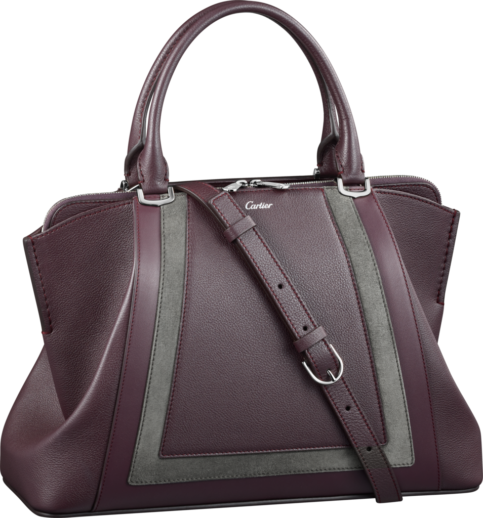 C de Cartier bag, small modelRhodolite garnet taurillon leather with contrasting bands, palladium finish