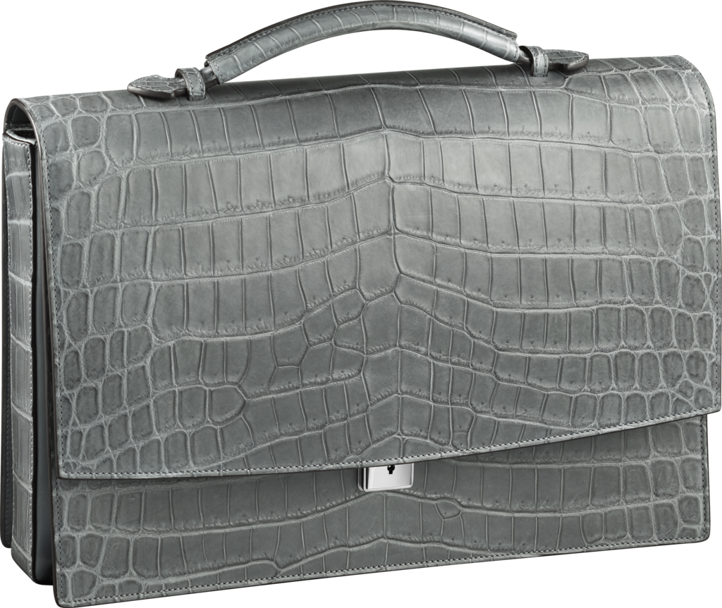 Must de Cartier bag, briefcase with three gussetsGray alligator skin, palladium finish