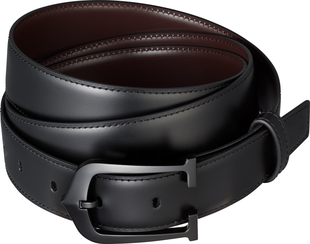 Elongated C beltBlack cowhide, black lacquered-finish buckle