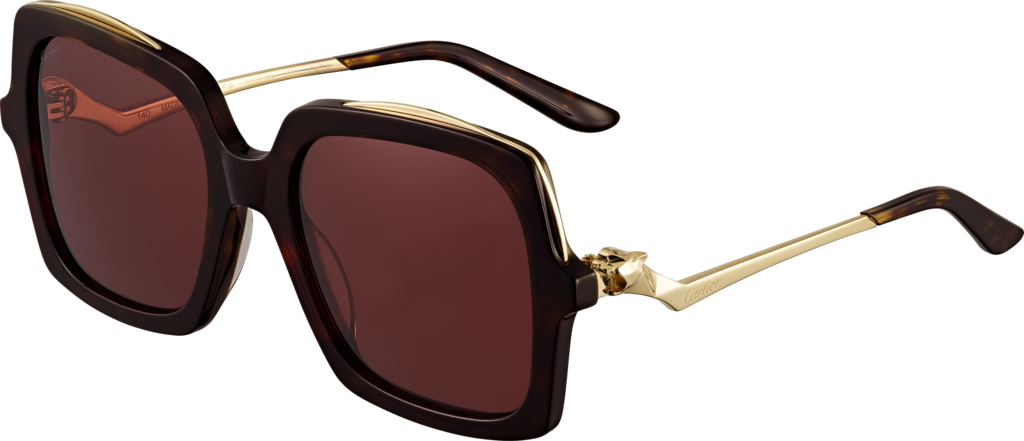 Panthère de Cartier sunglassesTortoiseshell-effect composite, champagne golden-finish metal, burgundy lenses
