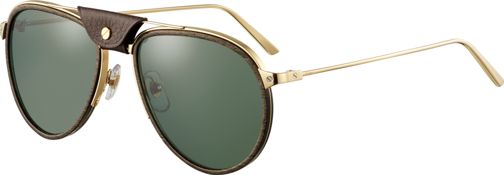 Santos de Cartier sunglassesLenses encircled with wood and carbon, champagne golden-finish metal, green polarized lenses