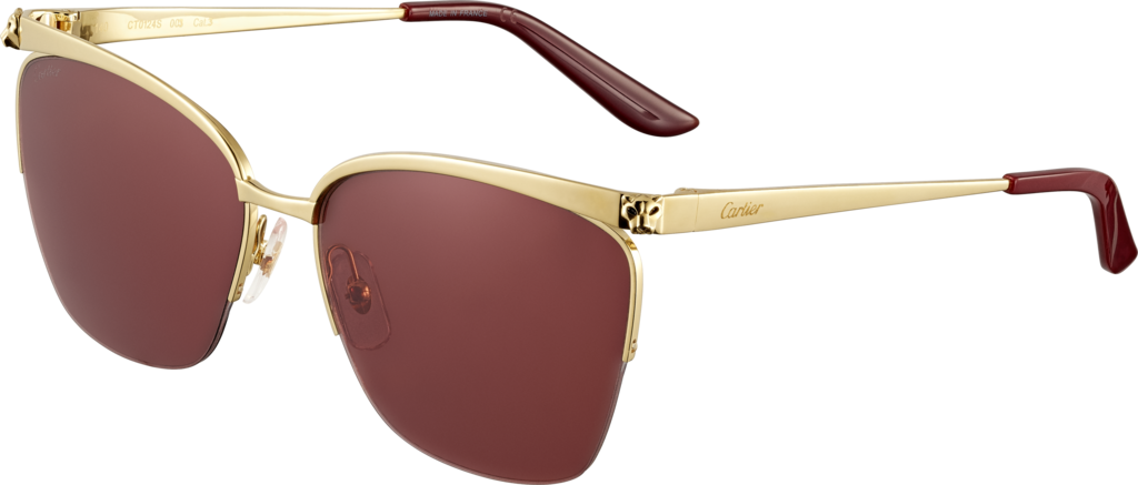 Panthère de Cartier sunglassesChampagne golden-finish metal, burgundy lenses