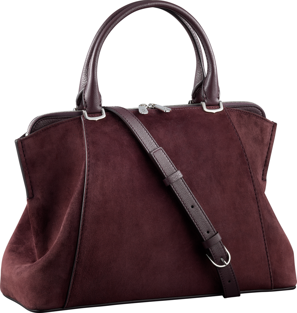 C de Cartier bag, small modelRhodolite garnet calfskin suede, palladium finish