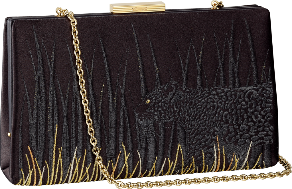 Panthère de Cartier clutch bagBlack satin with Panthère embroidery, gold finish