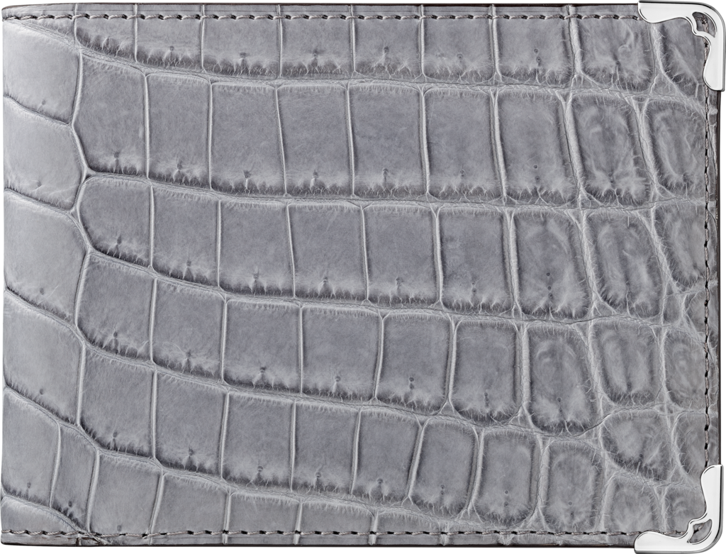 Must de Cartier Small Leather Goods, 6-credit card walletGray alligator skin, stainless steel finish