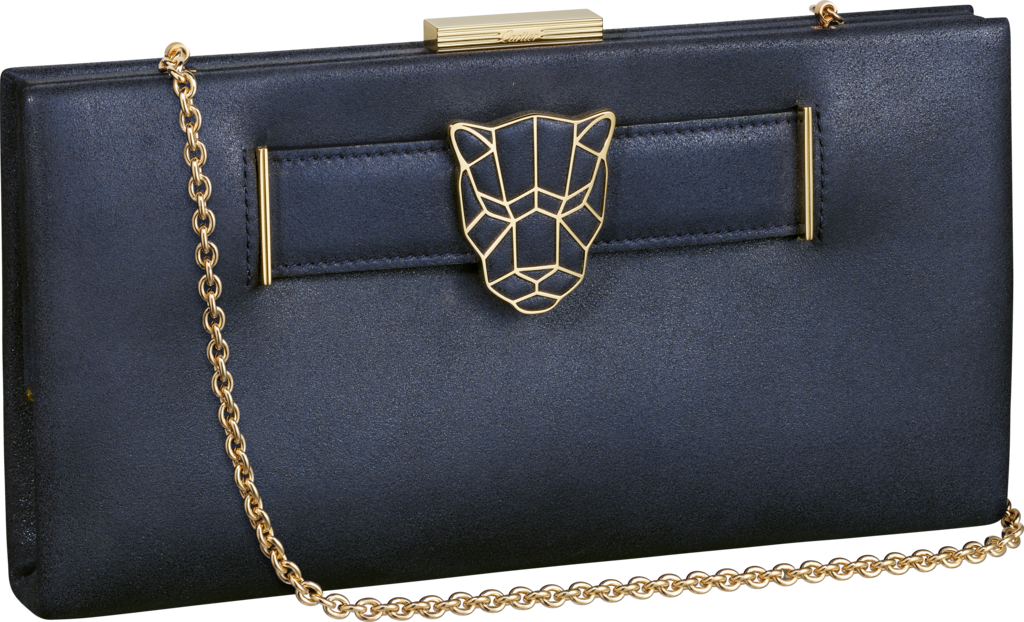 Panthère de Cartier clutch bagMetallic blue lambskin, gold finish