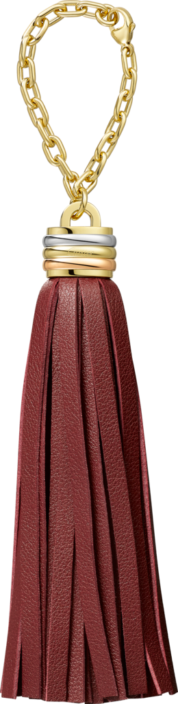 Trinity tassel key ring in burgundyBurgundy calfskin, golden-finish, palladium-finish and pink golden-finish metal, chain.