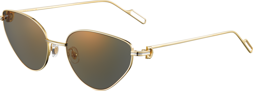 Première de Cartier sunglassesSmooth champagne golden-finish metal, gray lenses with golden flash