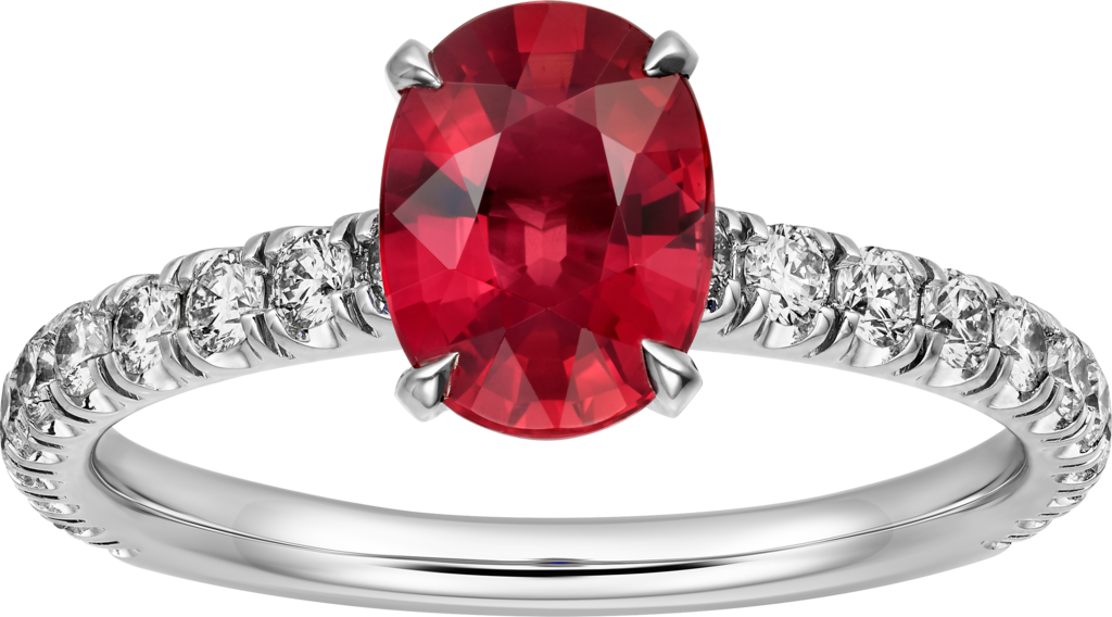 1895 solitaire ringPlatinum, rubies, diamonds