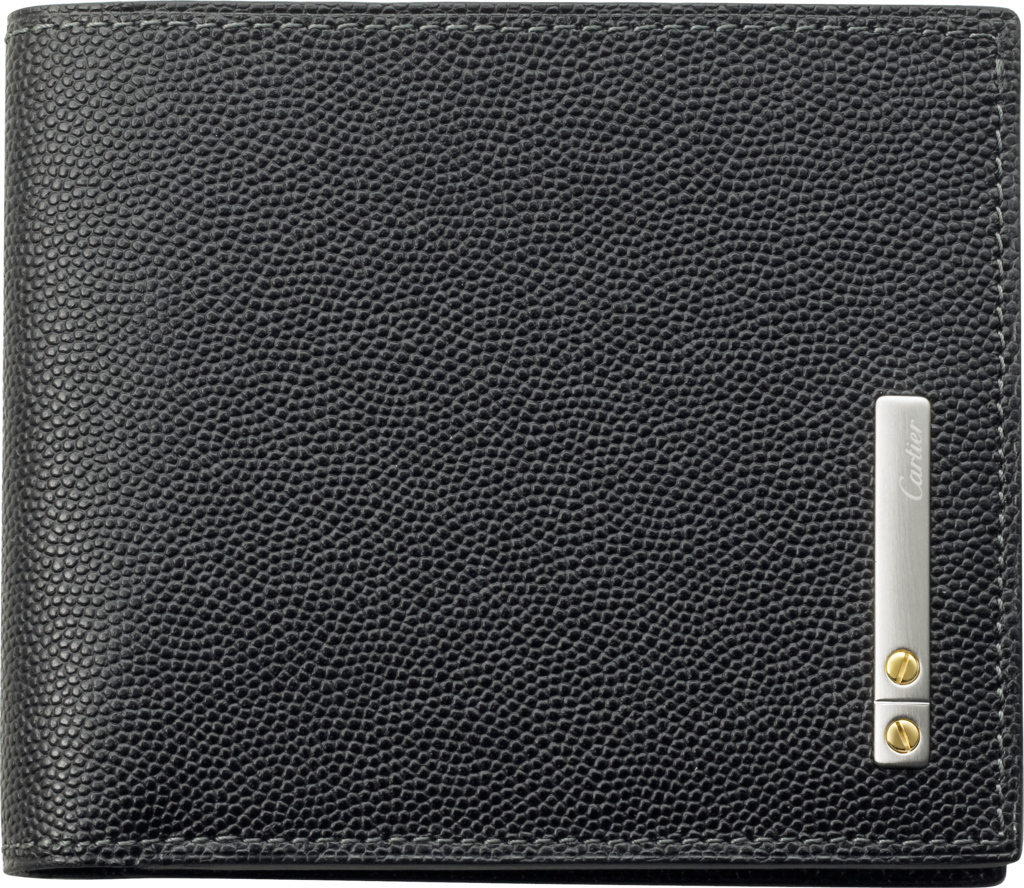 Santos de Cartier Small Leather Goods, 9-credit card walletBlack cowhide, palladium finish