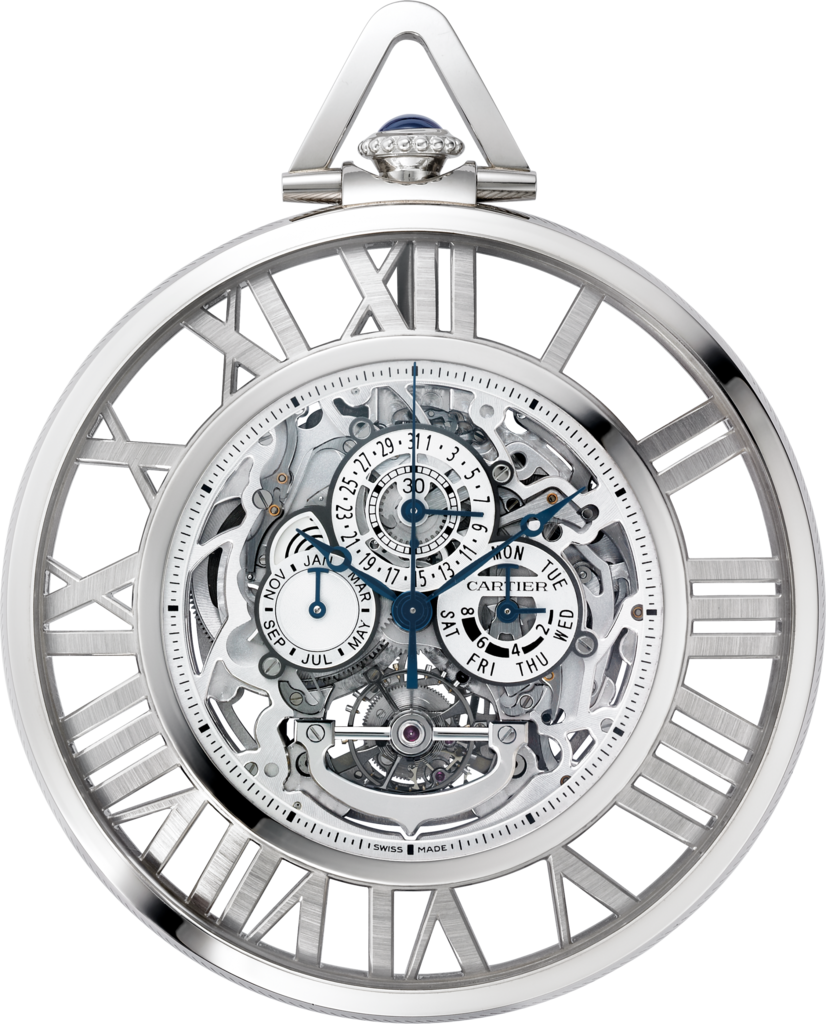 Rotonde de Cartier Grande Complication Skeleton pocket watch59 mm, manual, 18K white gold