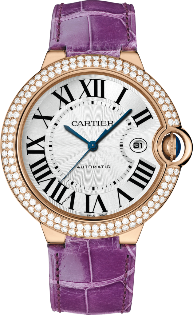 Ballon Bleu de Cartier watch42 mm, 18K pink gold, leather, sapphire, diamonds