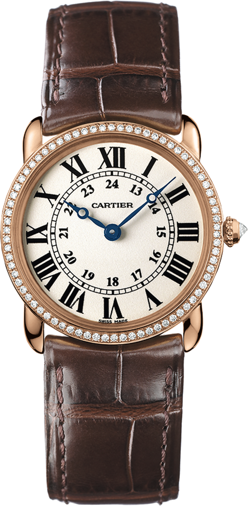 Ronde Louis Cartier watch29 mm, 18K pink gold, leather, diamonds