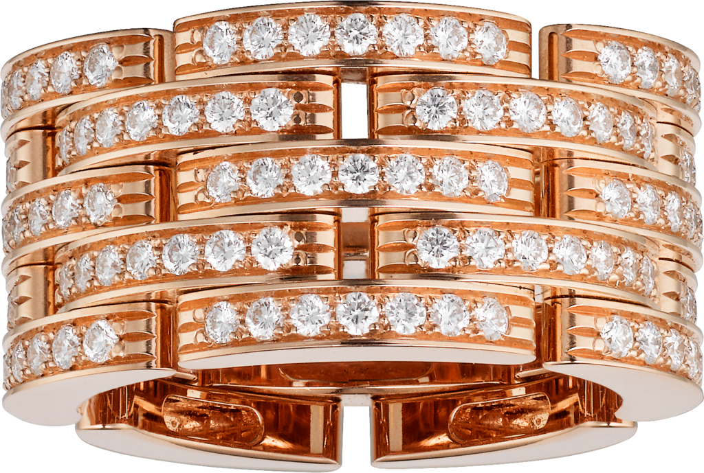 Maillon Panthère thin ring, 5 diamond-paved rowsPink gold, diamonds
