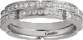 Maillon Panthère thin wedding band, 2 half diamond-paved rows