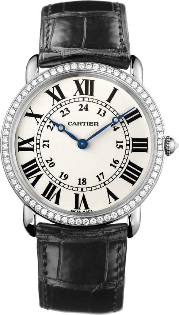 Ronde Louis Cartier watch36 mm, rhodiumized 18K white gold, leather, diamonds