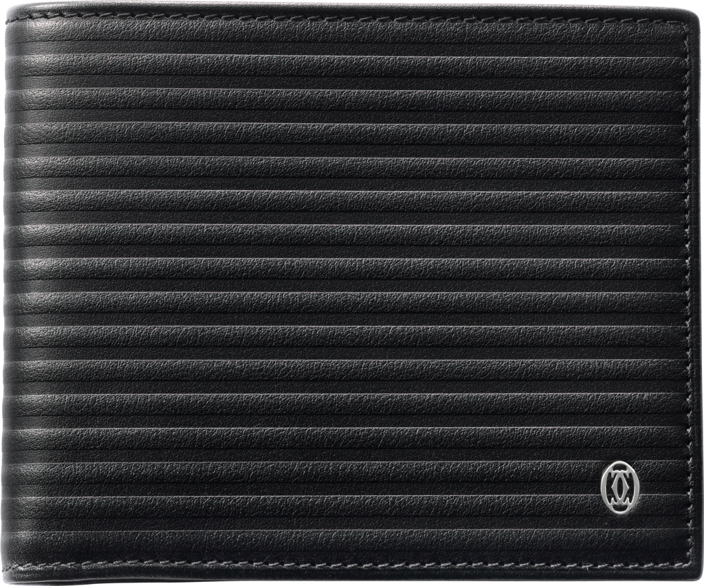 Pasha de Cartier Small Leather Goods, 6-credit card walletBlack calfskin, palladium finish