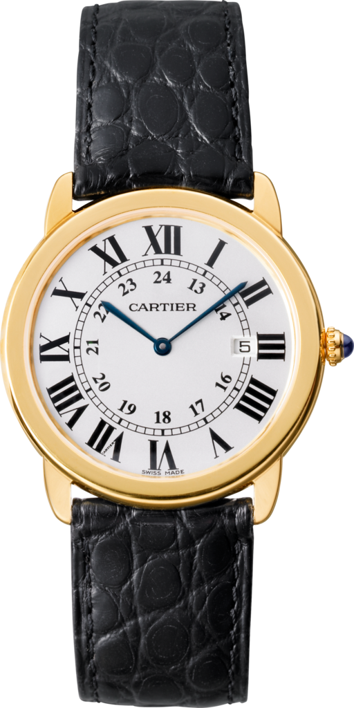 Ronde Solo de Cartier watch36 mm, 18K yellow gold, steel, leather