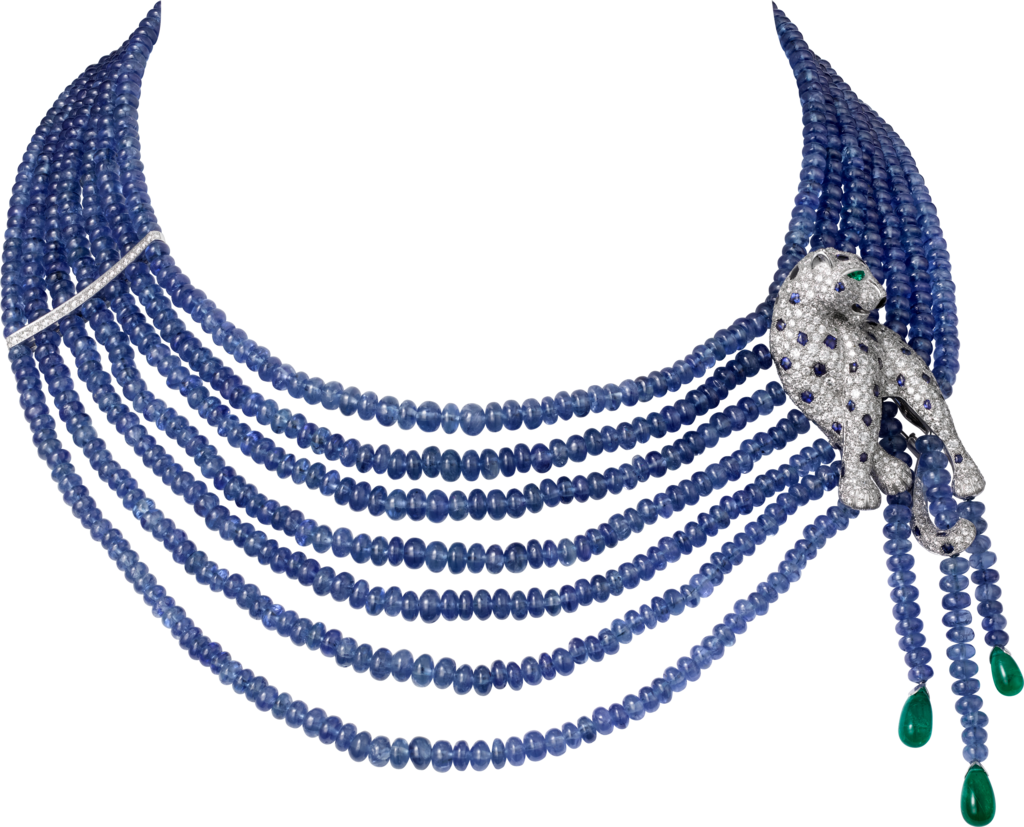 Panthère de Cartier High Jewelry necklacePlatinum, onyx, sapphires, emeralds, diamonds