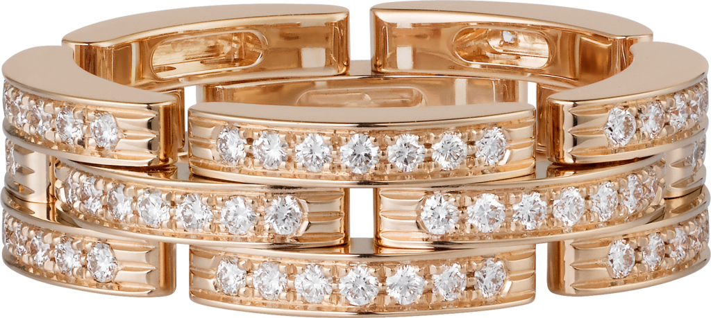 Maillon Panthère thin ring, 3 diamond-paved rowsPink gold, diamonds