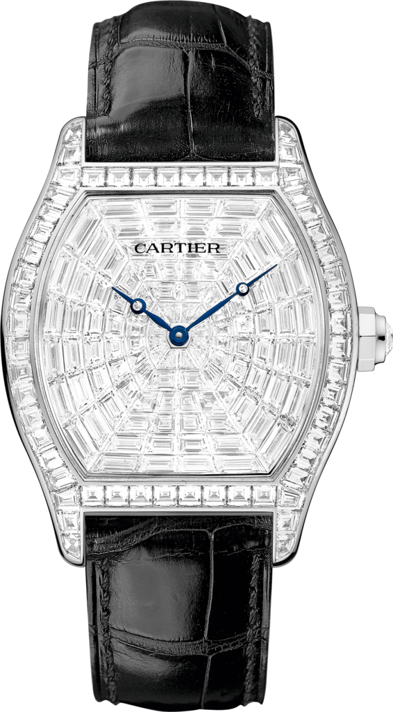 Tortue watchXL model, rhodiumized 18K white gold, leather, diamonds
