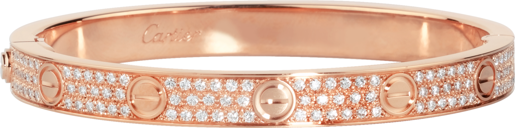 Love bracelet, diamond-pavedPink gold, diamonds